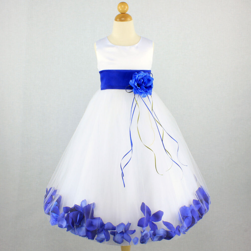 ROYAL BLUE Flower Girl Dress Petals Pageant Party Gown