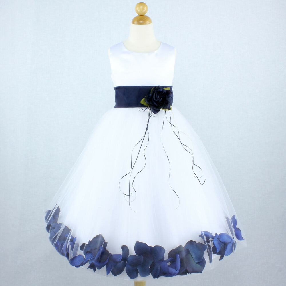 White navy blue pageant gown flower girl dress petals for Navy blue and white wedding dress