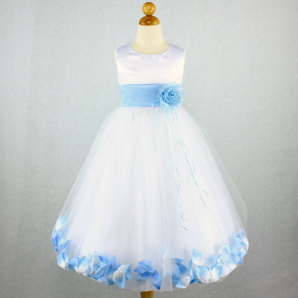 White Baby Blue Wedding Party Flower Girl Dress Bridal