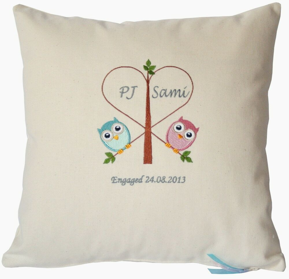 Wedding engagement owls cushion cover embroidered bespoke