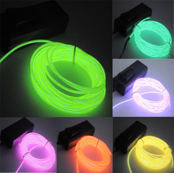 5m 16ft Neon El Wire Led Light Glow Rope Tube Dance Party