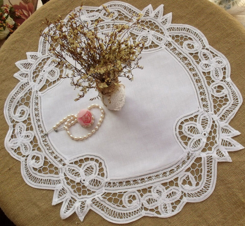 White Hand Tape Lace Doily Center Piece Cotton Flower