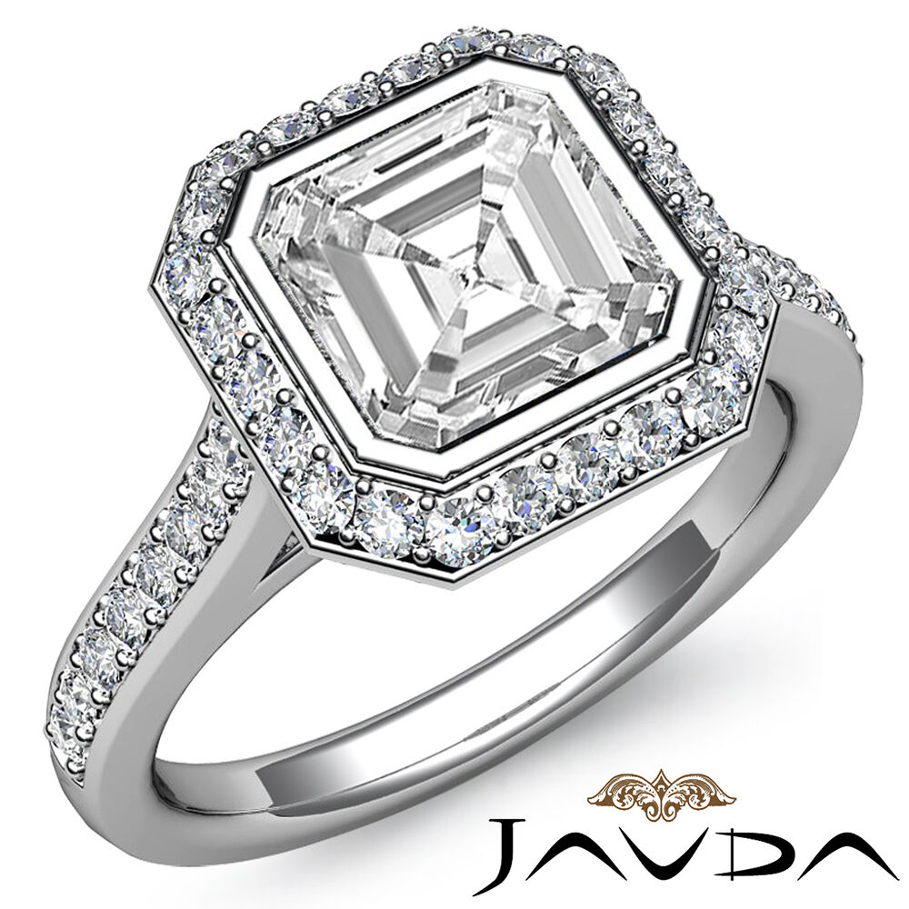 1 8 ct Genuine Asscher Diamond Engagement 14k White Gold Halo H SI1 GIA Ring