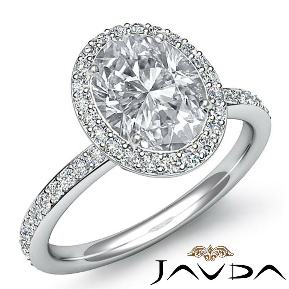 2 Ct Oval Diamond Vintage Engagement Halo Classic Ring H