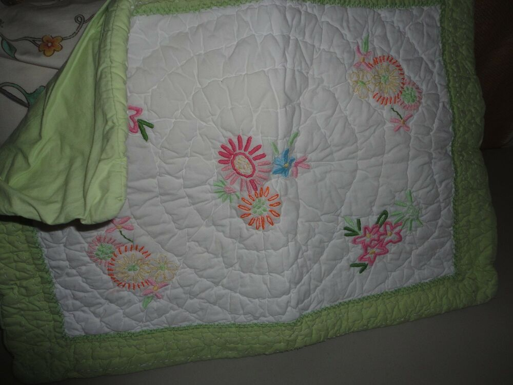 Pottery Barn Throw Pillow Green : POTTERY BARN EMBROIDERED FLOWERS QUILTED PILLOW SHAM PINK GREEN YELLOW BLUE eBay