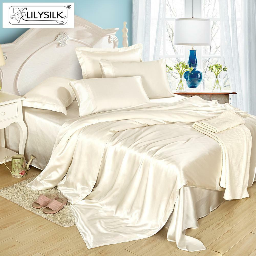Lilysilk 19 Momme Seamless Silk Sheets Set Fitted Flat