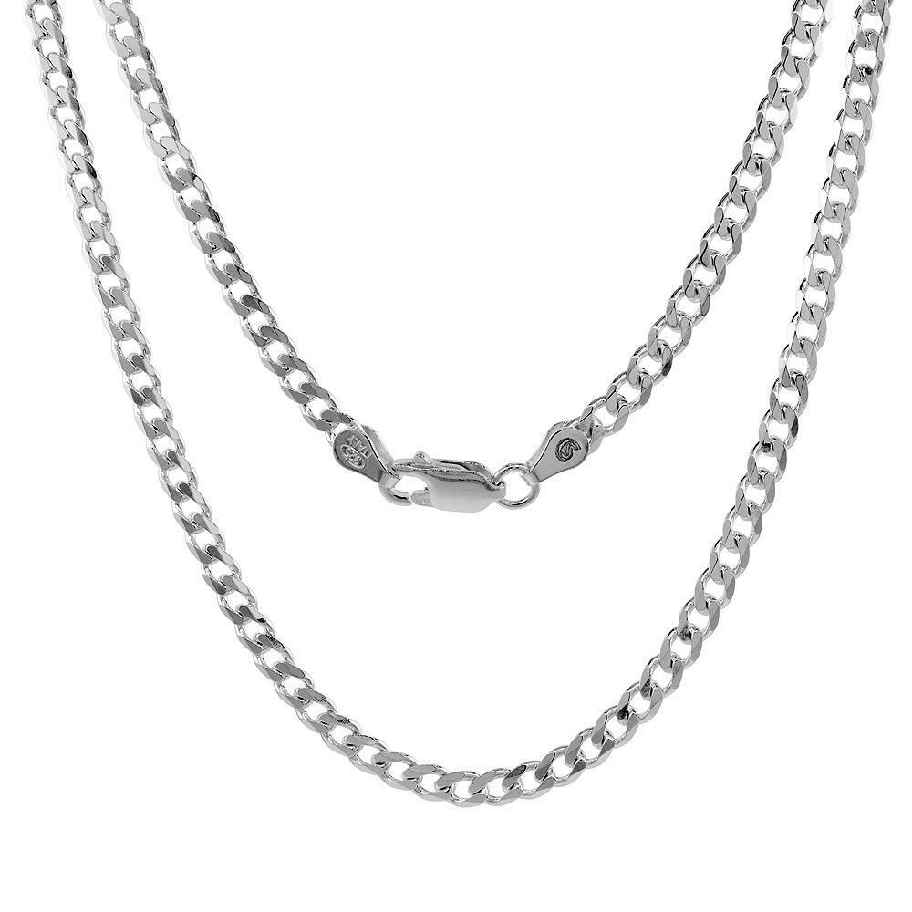 Silver Chain Link Bracelet: Sterling Silver 4mm Italian Cuban Curb Link Chain Necklace
