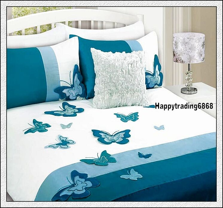 White Aqua Turquoise 3d Butterfly Doona Cover Set Single
