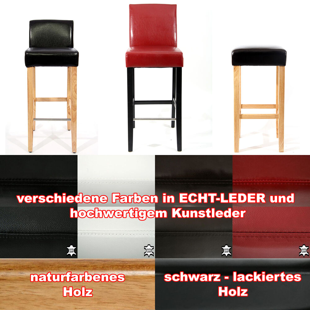 2x holzbarhocker gepolstert echtleder kunstleder barhocker holz natur schwarz ebay. Black Bedroom Furniture Sets. Home Design Ideas