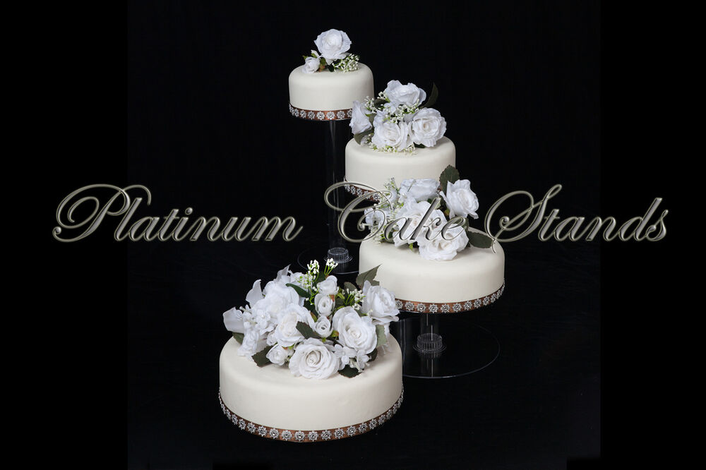 4 tier wedding cake stand uk 4 tier cascade wedding cake stand spiral style 4 ebay 10414