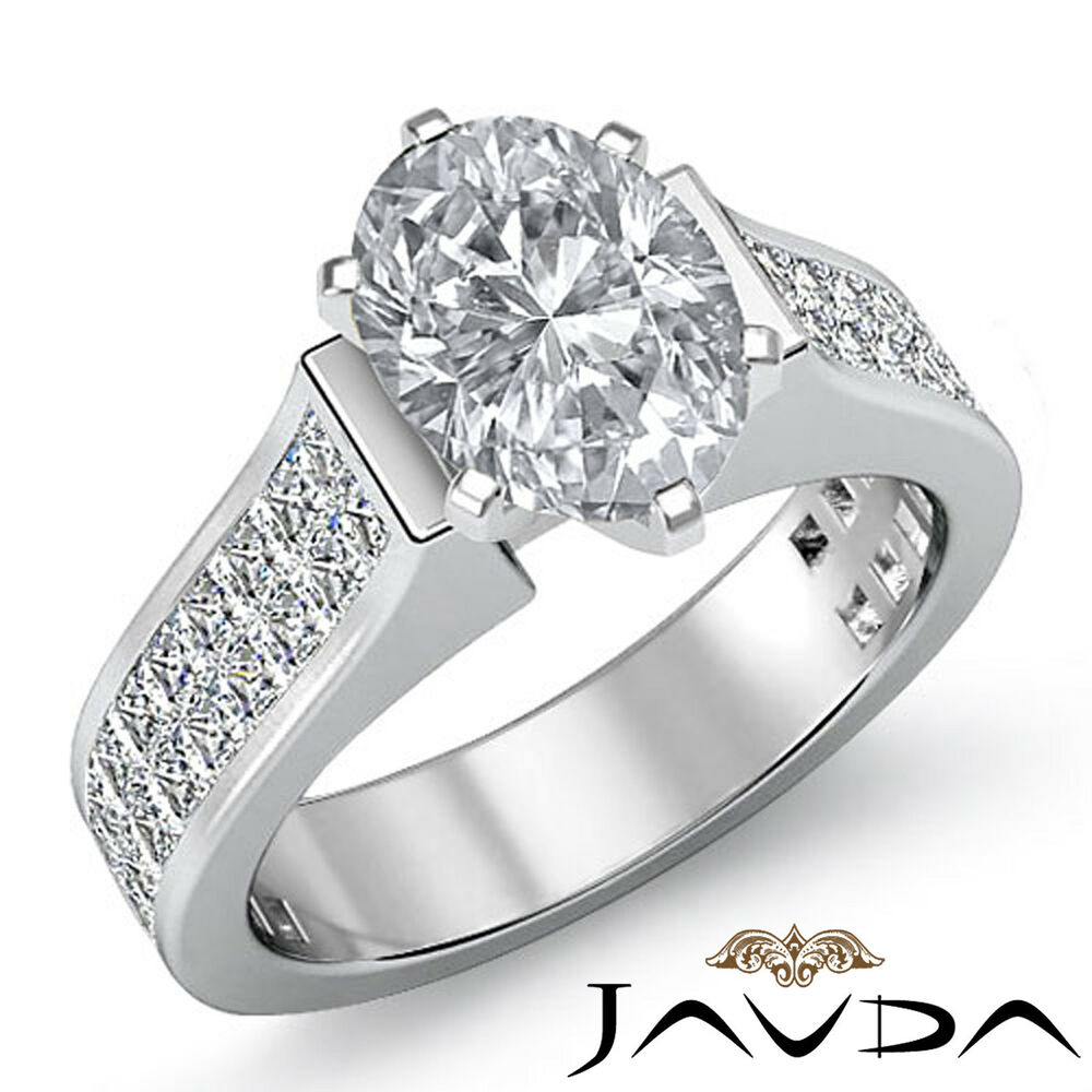 1 25ct Black Diamond Engagement Rings Set 14k White Gold: Oval Diamond Invisible Set Solid Engagement Ring GIA H SI1