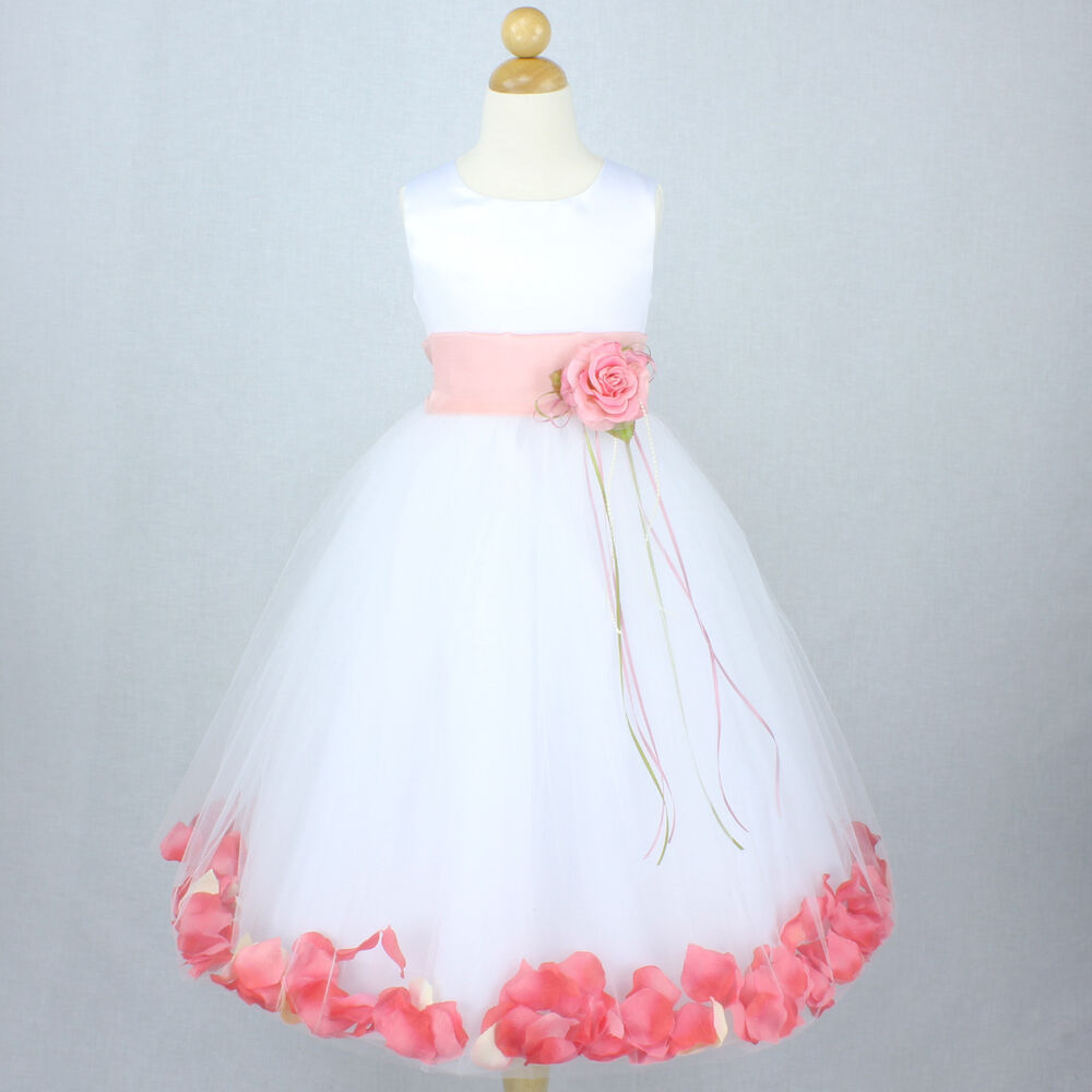 WHITE PEACH CORAL Flower Girl Dress Petals Wedding Party Gown ...