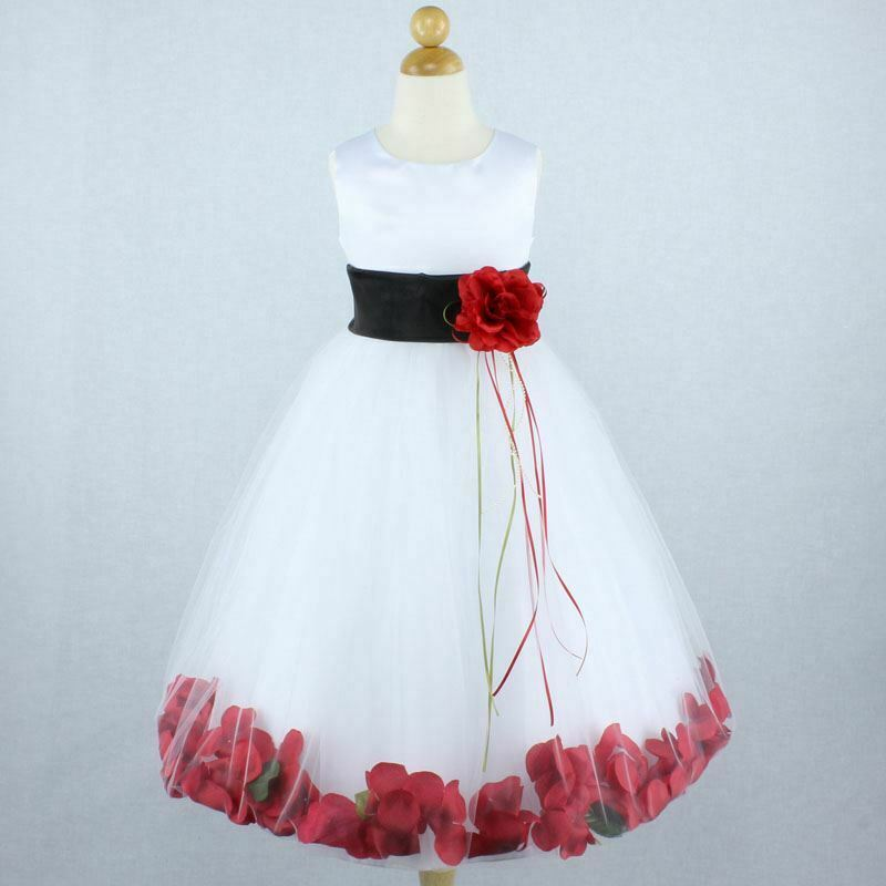 Gown For Flower Girl Wedding: WHITE BLACK RED Flower Girl Dress Petals Dance Birthday