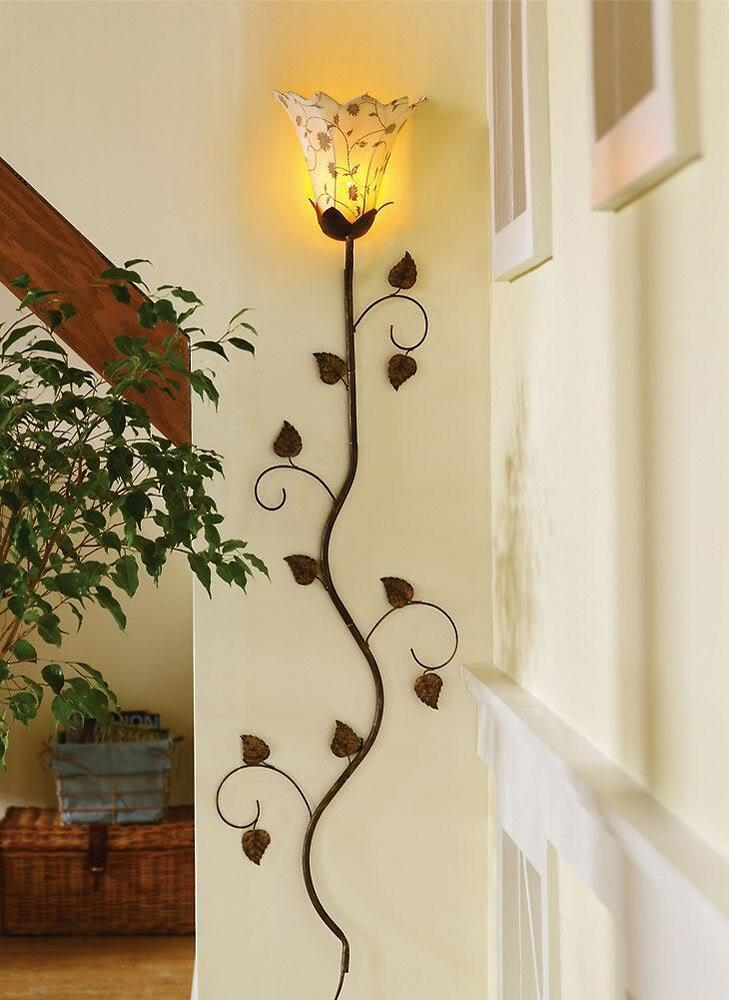 Wall Decor Lamps : New flower petal bloom metal wall lamp home decor antique