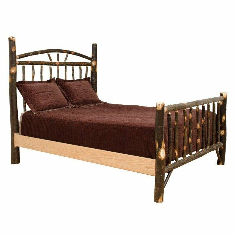 queen size hickory wagon wheel bed headboard footboard amish made in usa ebay. Black Bedroom Furniture Sets. Home Design Ideas