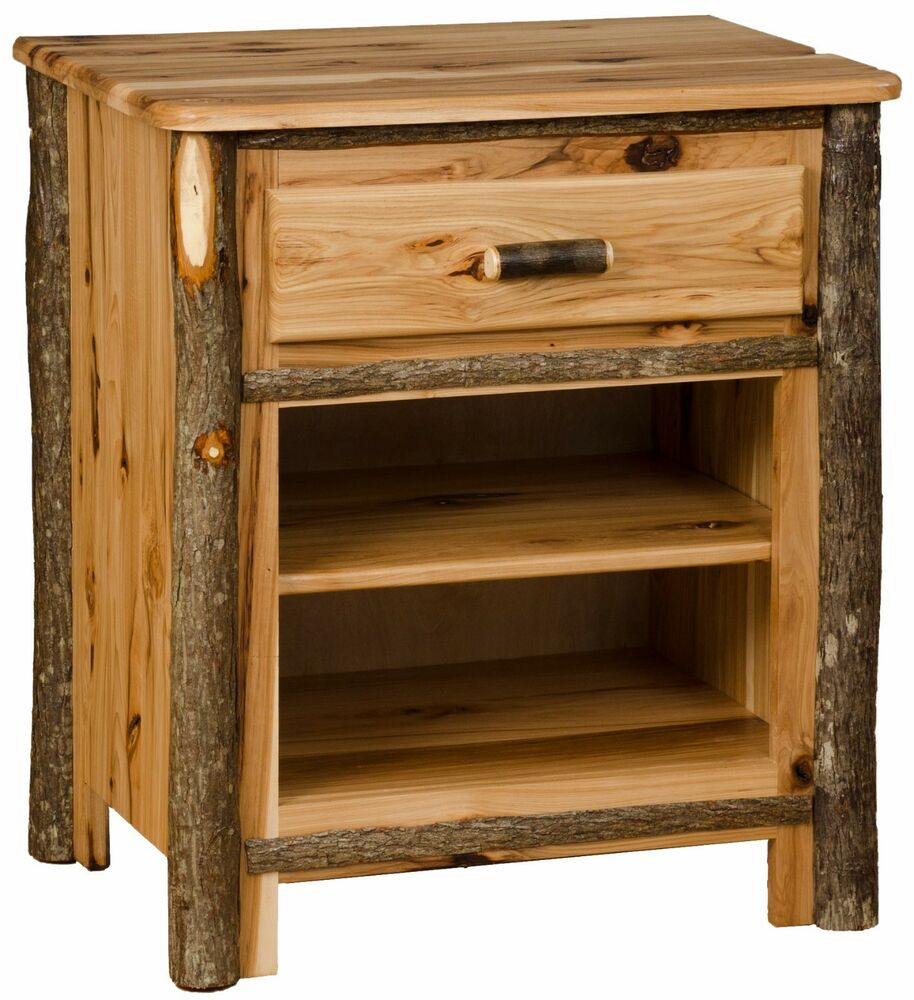 *ALL HICKORY* Rustic Nightstand (1 Drawer & 2 Shelves