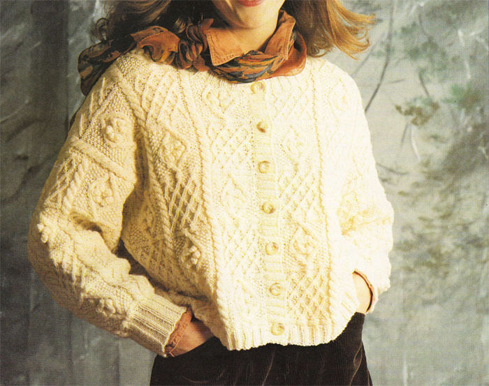Vintage Aran Cardigan Knitting Pattern : Ladies Aran style crop cardigan Knitting pattern-- To Knit ...