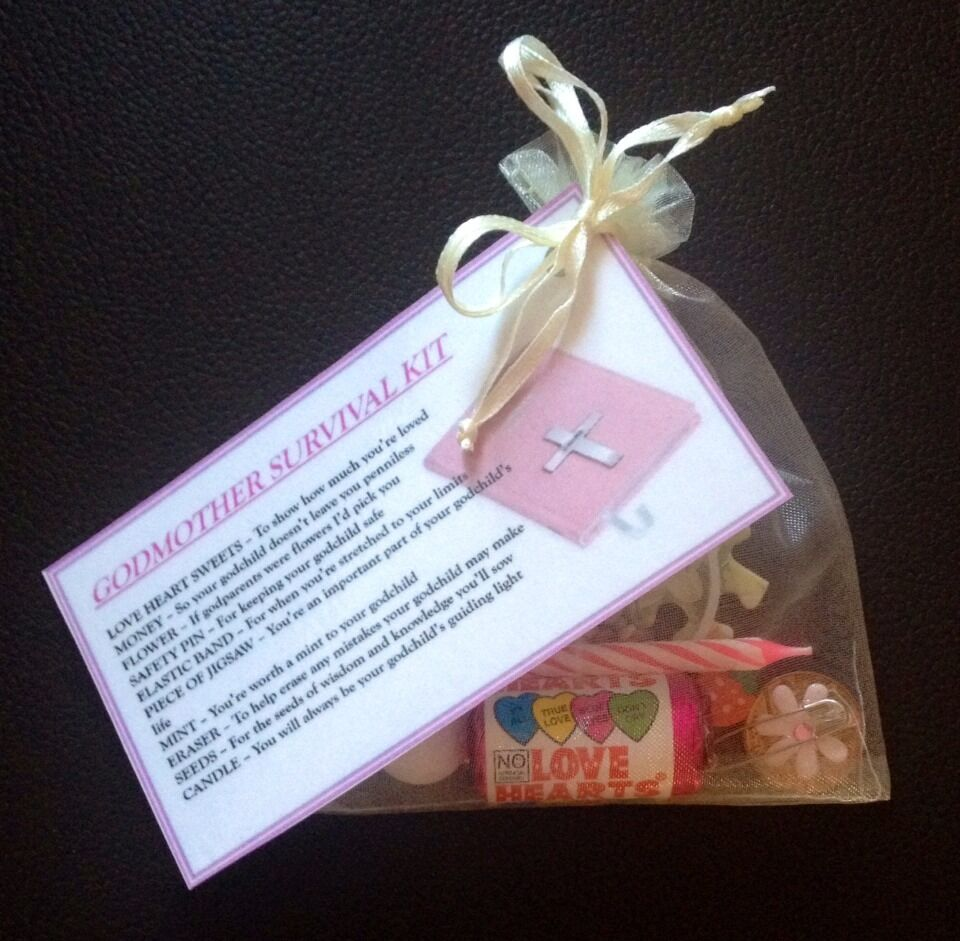 Godmother survival kit gift for godparents christening baptism thank you gift ebay - Gifts for baby christening ideas ...