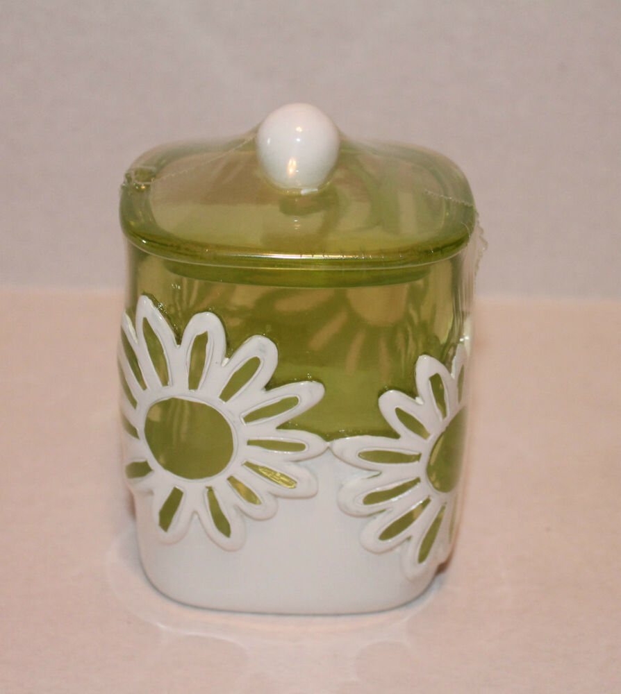 Jumping Beans Flower Power Green Floral Cotton Ball Jar