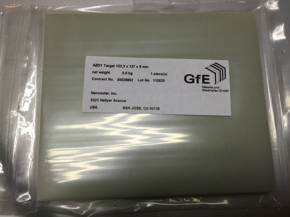 Details About NEW UNUSED Al2O3 ZnO AZOY Sputtering Target 1523mm X 127mm 8 Mm
