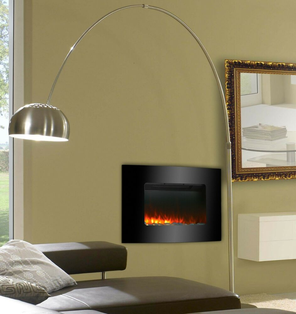 Black Glass Electric Fireplace Fire Slim Curved Wall ...