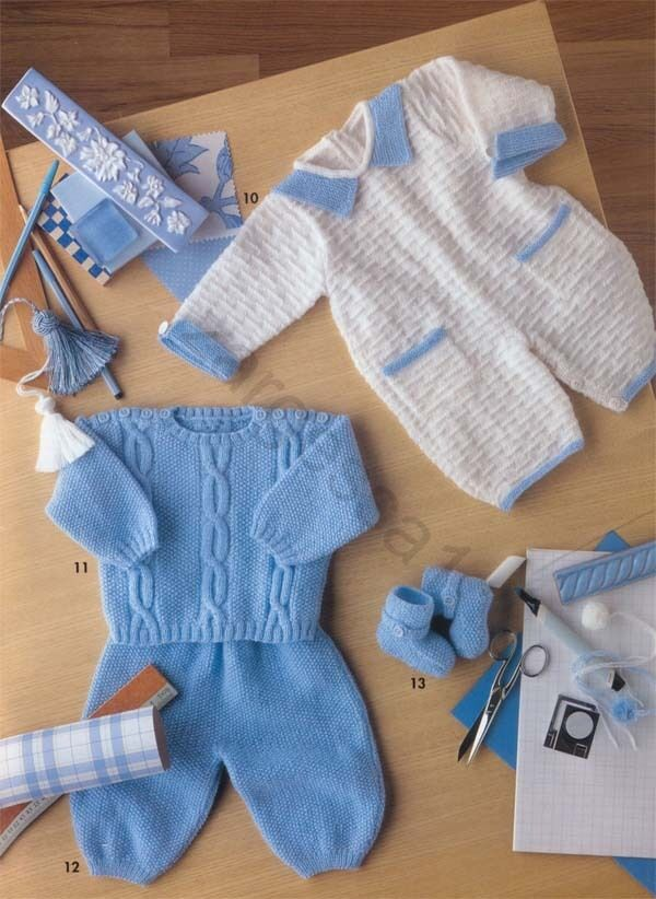 Knitting Patterns For Babies Jumpers : Baby Boy- Jumpsuit, trousers and Jumper Knitting Pattern- Vintage eBay