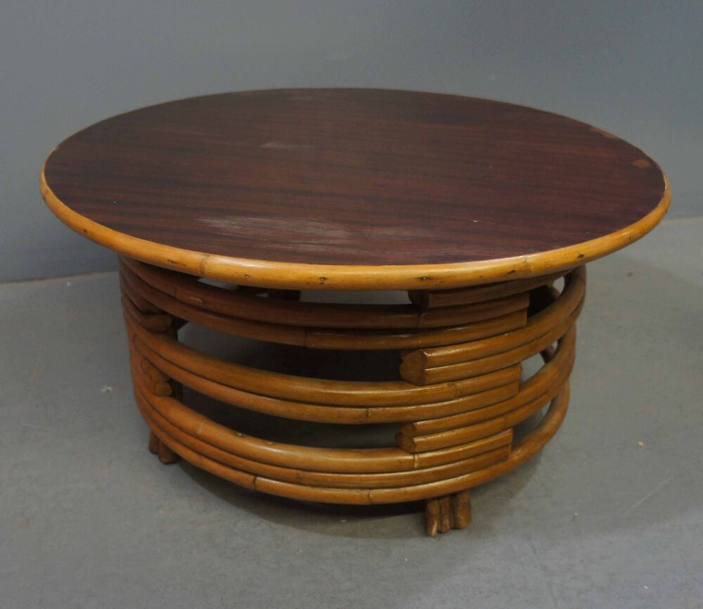 Paul frankl 1940 39 s deco rattan round open stacked base coffee table ebay Rattan round coffee table