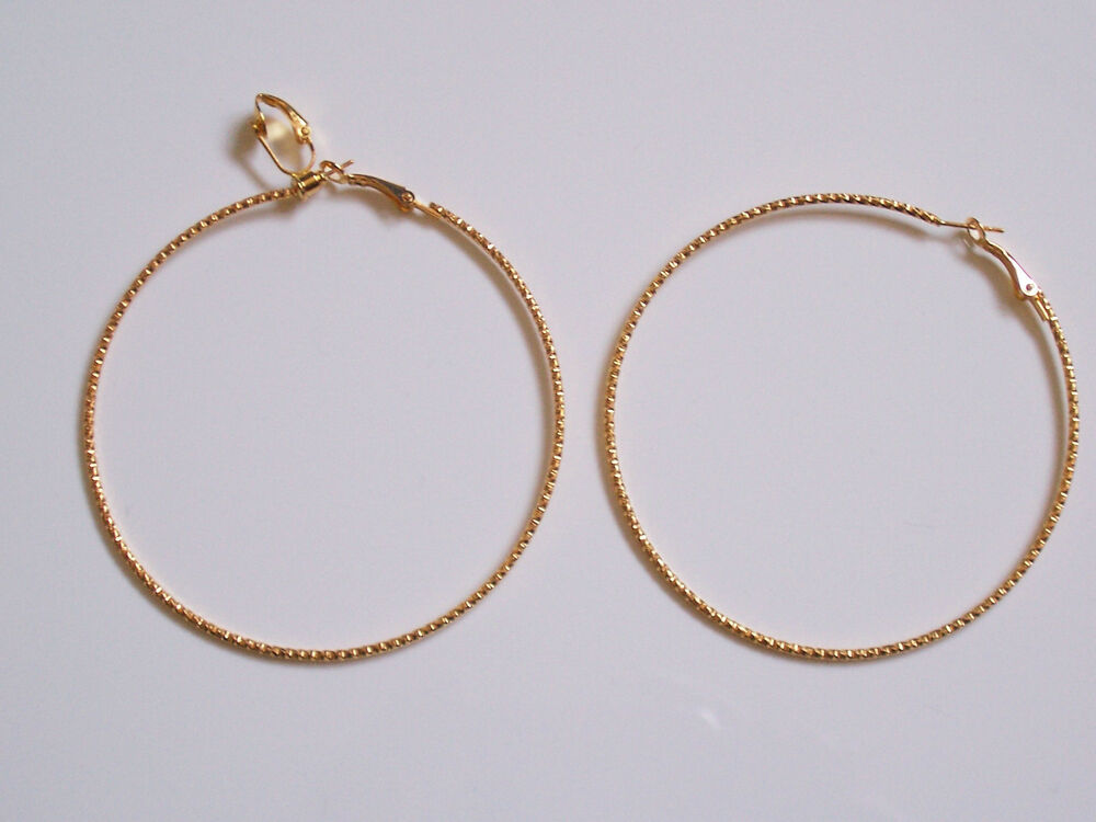 BIG CLIP-ON HOOP EARRINGS - TWISTED GOLD PLATED DESIGN ...