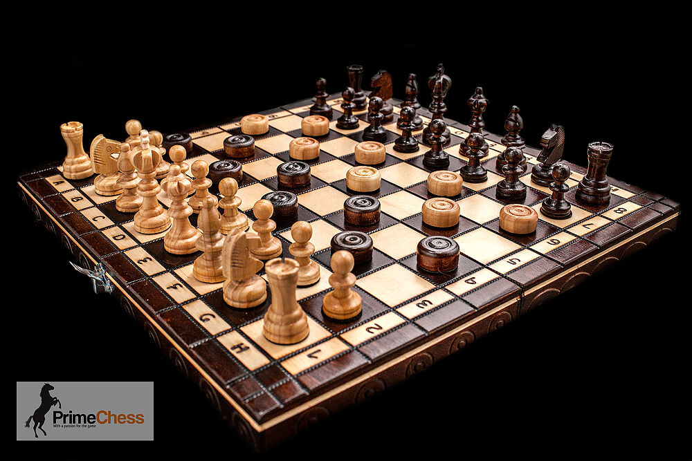 Prime chess hand crafted cherry wooden chess and draughts for Hand crafted chess set