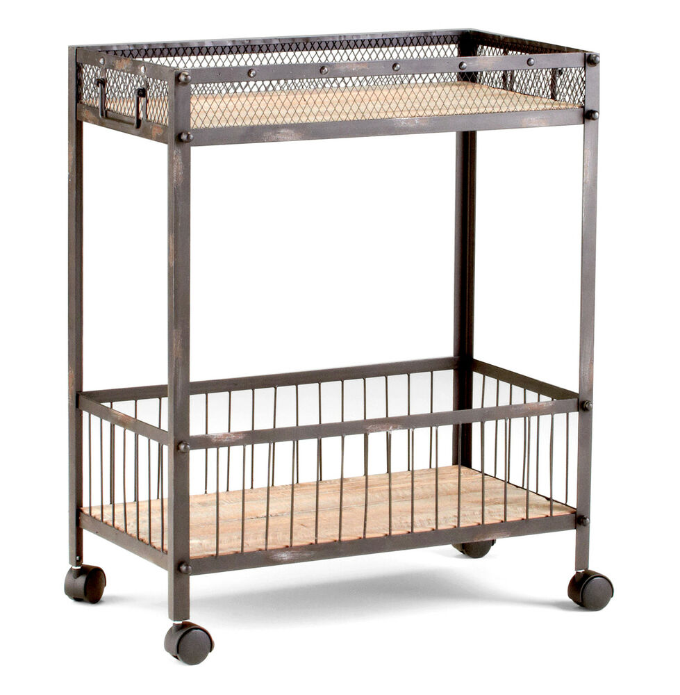 Industrial Kitchen Trolley: Industrial Loft Raw Steel Reclaimed Wood Iron Serving Bar
