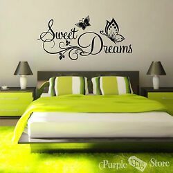 Sweet Dreams Butterflies Vinyl Art Home Wall Room Quote Decal Sticker Decoration