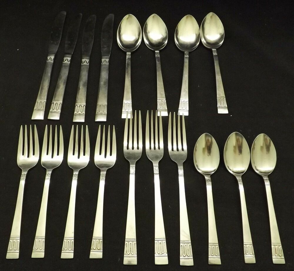 national stainless co stainless steel flatware 18pc set ebay. Black Bedroom Furniture Sets. Home Design Ideas