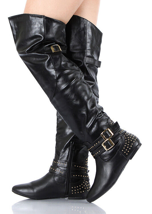 studded buckle thigh high boots black size 5 5 to 10 ebay