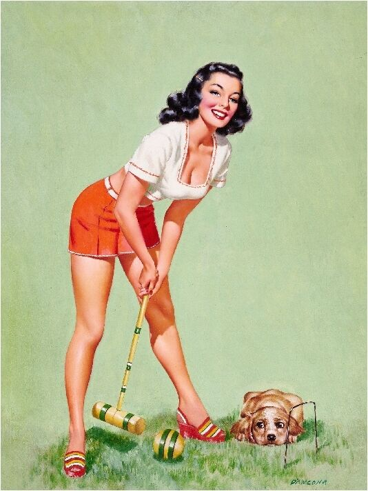 1940s pin up girl cocker spaniel puppy dog croquet picture poster print art ebay. Black Bedroom Furniture Sets. Home Design Ideas