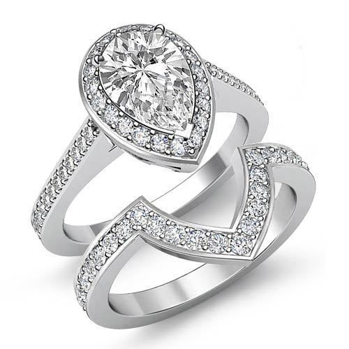 Pear Diamond Bridal Set Women's Engagement Ring GIA F VS2