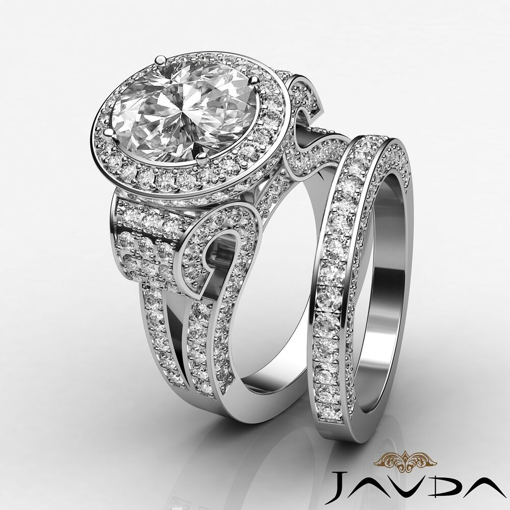 Oval Diamond Vintage Engagement GIA F VS2 14k White Gold