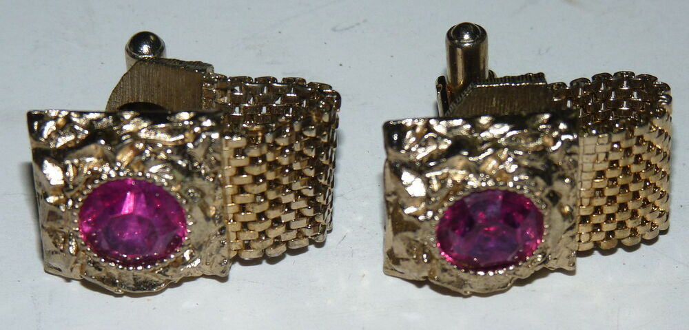 Vintage swank men jewelry cufflinks pink stones gold metal for What is swank jewelry