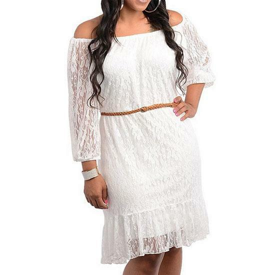 13 1x 2x 3x plus size belted 3 4 sleeve laced summer for Off white plus size wedding dresses