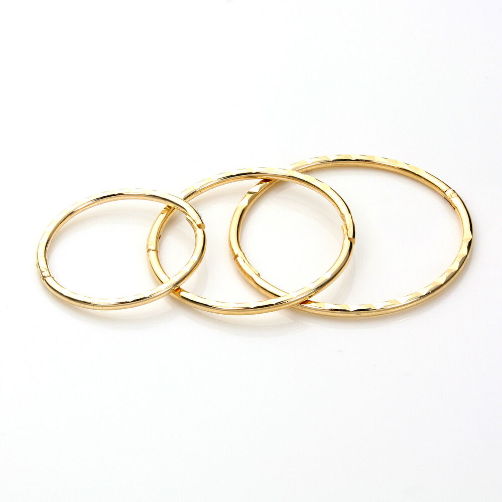 9ct Yellow Gold Plain Amp Patterned Hinged Hoop Sleeper