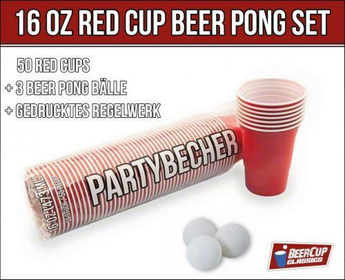 red beer cup 16 oz 50 becher inkl 3 beer pong b lle. Black Bedroom Furniture Sets. Home Design Ideas