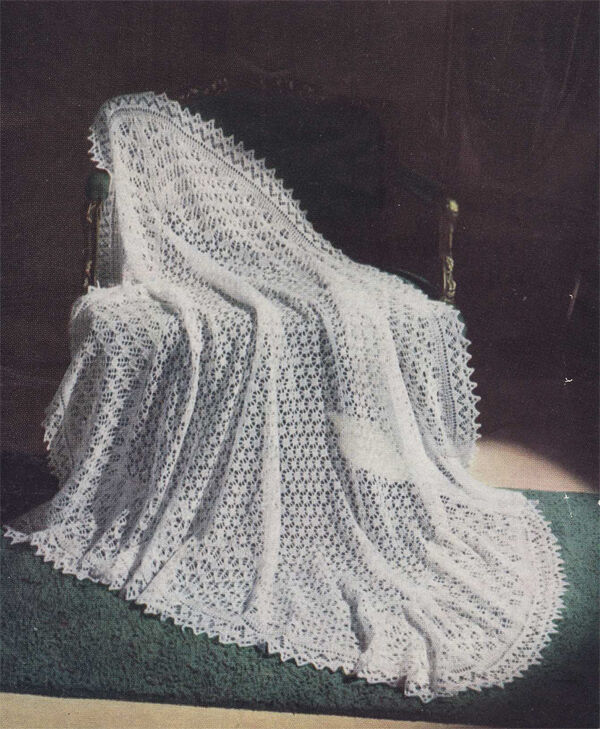 Vintage Shawl Knitting Patterns : Lovely old Vintage knitting pattern for a baby 3 ply shawl- knitting pattern ...