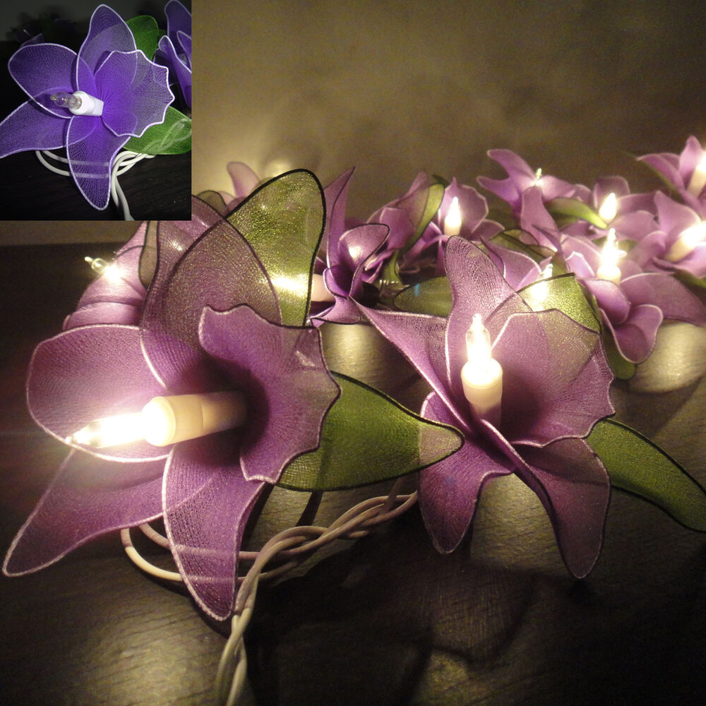 Purple Fairy String Lights : 20 Purple Orchid Flower Fairy String Lights Wedding Party Floral Home Decor 3.5m eBay