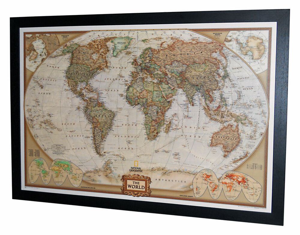 framed world map national geographic executive 40 x 28 black frame ebay. Black Bedroom Furniture Sets. Home Design Ideas
