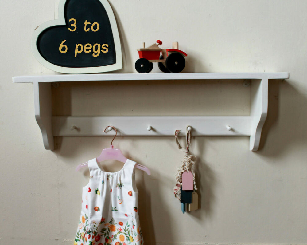 Wall Shelf Wooden Pegs Cup Hooks Or Children Storage