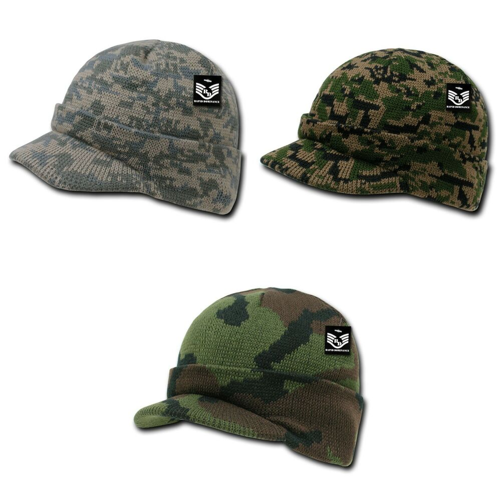 ec8240c518a Details about RapDom Military Camouflage Camo GI Jeep Beanies with Visor  Knit Watch Caps Hats