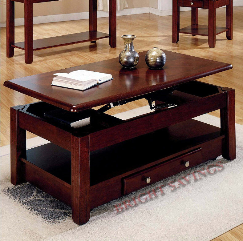 New lift top storage cocktail coffee table cherry finish furniture with casters ebay Lifting top coffee table