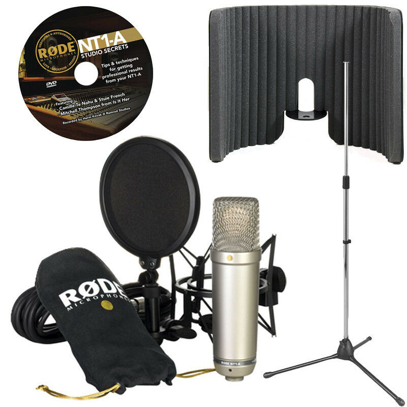 rode nt1 a microphone with primacoustic voxguard and tripod mic stand ebay. Black Bedroom Furniture Sets. Home Design Ideas