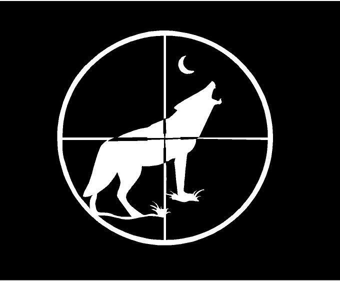 White Vinyl Decal Coyote Wolf Crosshair Hunt Scope Country