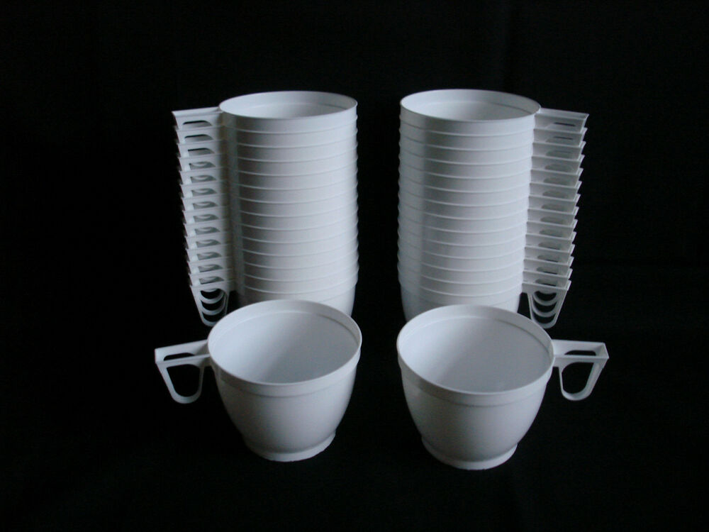 30 Plastic Disposable White Coffee Tea Mugs Cups Party