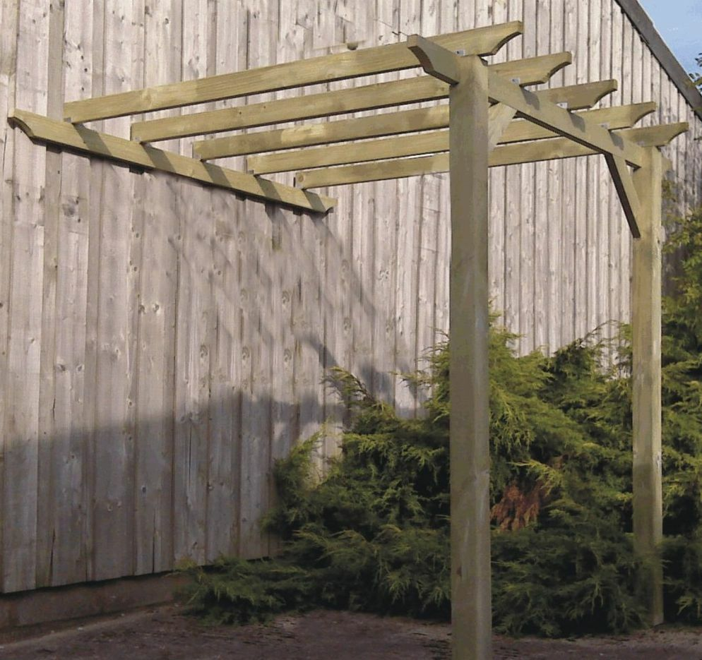 Lean To Patio Covered Wood: 3.6m X 3.1m Lean To Pergola Gazebo Kit With 95mm Posts